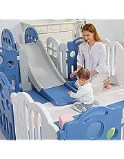Premium Quality 148x173cm Baby Kids Playpen Toddler Baby Safety Gate + Slide + Play Mat Room Home Indoor (Pink Playpen + Slide + Mat)