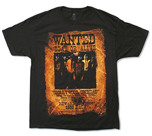 Hollywood Undead Wanted Dead or Alive Men's Black T Shirt (XL) -