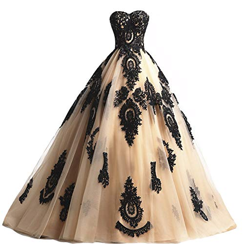Black Lace Long Tulle A Line Prom Dresses Evening Party Corset Gothic Wedding Gowns Champagne US 18W ()