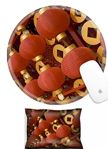 Luxlady Mouse Wrist Rest and Round Mousepad Set, 2pc IMAGE: 17724847 The traditional red lanterns decorating the Chinese New Year -