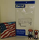 Patriotic Party Supplies | 4th of July Decorations | Red White and Blue| 1 tablecloth- 1 pack 18 dinner napkins- 1 pack 4 napkin ring holders |
