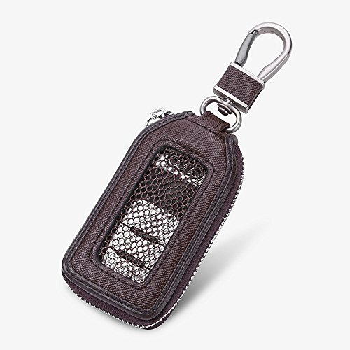 Car Keychain Cover Premium Leather Key Chain Coin Holder Keyring Hook Wallet Zipper Case Remote Smart Key Fob Alarm Security (Brown)