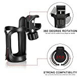 Upgrade Edition Bike Cup Holder/Stroller Bottle Holders, Universal 360 Degrees Rotation Antislip Cup Drink Holder for Baby Stroller/Pushchair, Bicycle, Wheelchair, Motorcycle (2 Packs)