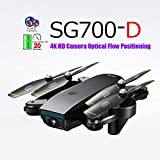 LikeroNew SG700-D 2.4Ghz 4CH Wide-Angle WiFi 4K HD Dual Camera Optical Flow RC Quadcopter Drone Hover,Beginners -Controlled Through The Mobile Phone App -One-Key Start&one-Key Landing (Black)