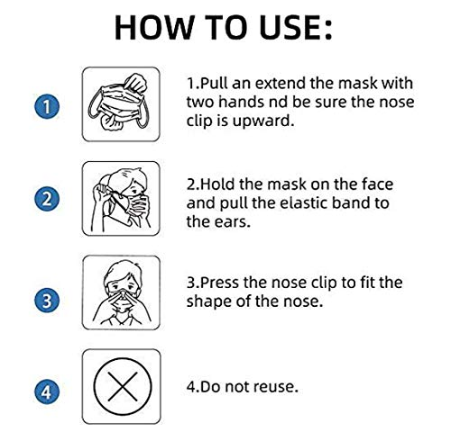 Face Mask, Disposable Masks for Adult 3-Ply Mouth Cover Dust Safety Protection (Pack of 50)