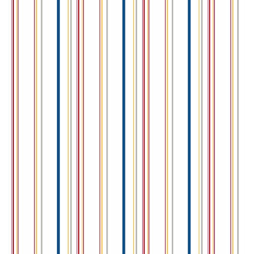 York Wallcoverings KS2449 Brothers and Sisters V Wide Multi Stripes Wallpaper, White/Blue/Red/Yellow/Grey