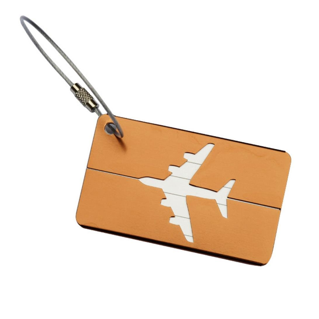 Luggage Tag , HP95(TM) Airplane Style Squar Luggage Checked Boarding Elevators Lables (Coffee)