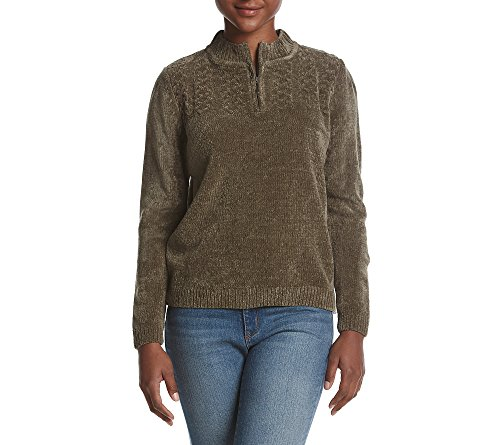 Cable Half Zip Sweater (Alfred Dunner Petites' Quarter Zip Sweater Olive Petite Large)