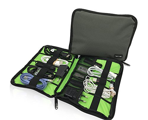 Grey Nylon Fabric Storage Holder/Wallet/Case/Bag/Organizer for Cable/ USB Flash Drives/Thumb Drives/Pen Drives/Jump Drives & HDD/Power Bank/SD Card/Ipod/Cell Phone/Ipad Mini