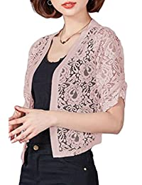 KLJR-Women Short Sleeve Lace Hollow Out Open Front Bolero Shrug Cardigan