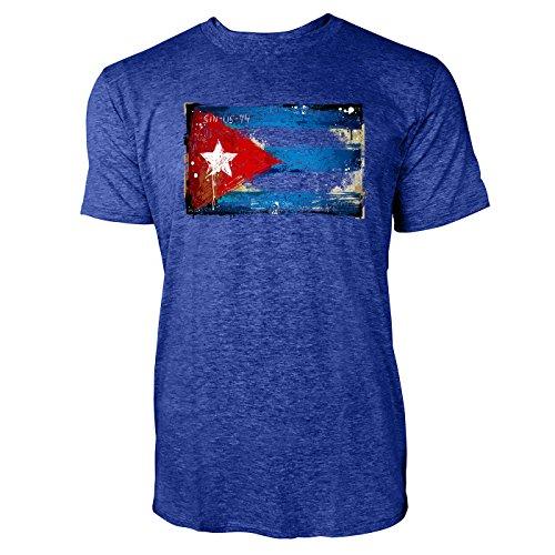 SINUS ART ® Gemalte Kuba Flagge Herren T-Shirts in Vintage Blau Cooles Fun Shirt mit tollen Aufdruck