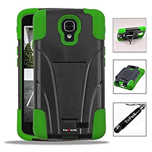 [ LG Optimus F70 / D315 ] ToPerk T-Stand Dual Layer Armor Case With Kick Stand & ToPerk Stylus Pen As Bundle Sale - Black/Green