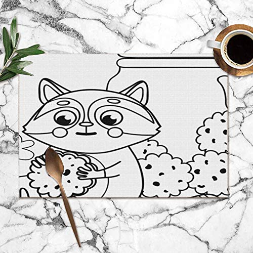 Little Cute Raccoon Cookies Paws Jar Animals Wildlife Adorable The Arts Washable Placemats For Dining Table Double Fabric Printing Polyester Place Mats For Kitchen Table Set Of 6 Table Mat 12