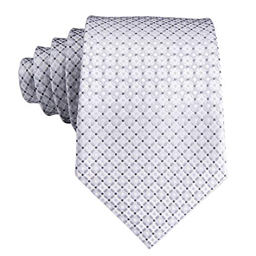 Hi-Tie New Arrival Mens Silver Plaid Tie Necktie Pocket Square and Cufflinks Tie Set Gift Box