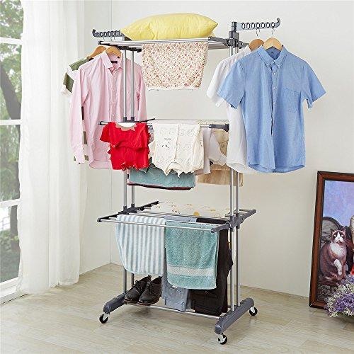 RichStar 3-Tier Clothes Drying Rack with Commercial Grade Casters, Perfect for Your Laundry Room and Outdoor Laundry