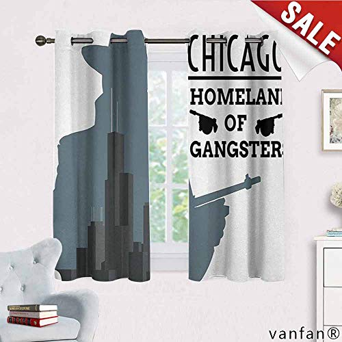 Big datastore Vintage, Curtains for Bedroom,Double Exposure of Gangster with Gun on Chicago Skyscrapers Homeland Mafia Danger, for Bedroom, Nursery, Living Room, W63 x L72 Grey -