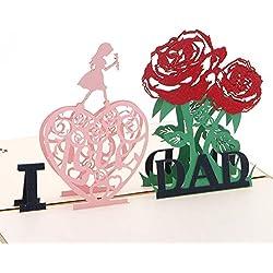 Blue Stones 3D Pop Up I Love Dad Greeting Card Valentines Birthday Invitation