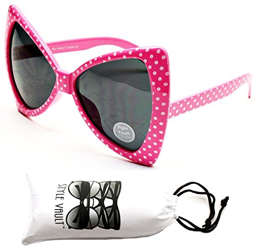 Wm529-vp Cateye Butterfly Oversized Sunglasses (S1119V Pink/White Dots, - Bow Sunglasses