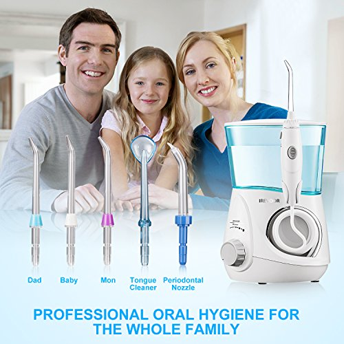 Aquarius Water Flosser IREVOOR Professional Dental Water Flosser Energy Saved 12 watt 110-240V Stepless Speed Change Oral Irrigator with 4 Jet Tips 1 Tongue Scraper for Family by IreVoor (Image #4)