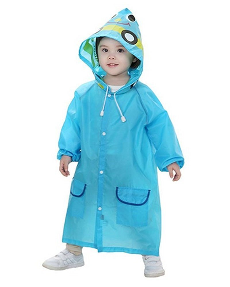 Niños Impermeable Rain Coat Rainsuit Animal Toddler Cartoon Hooded Jacket Poncho Azul BAINA Network technology Ltd