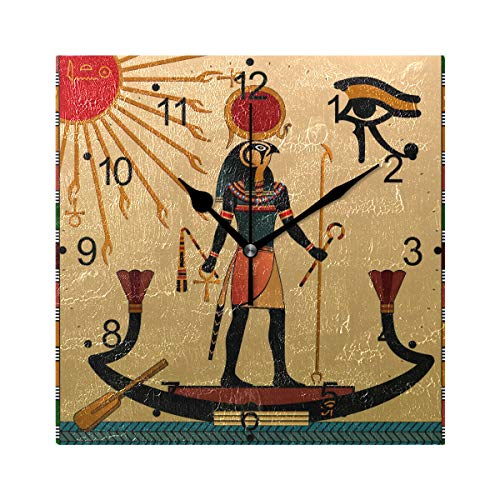 - LORVIES Ancient Egypt Wall Clock Silent Non Ticking Acrylic 8 Inch Square Decorative Clock for Home/Office/Kitchen/Bedroom/Living Room