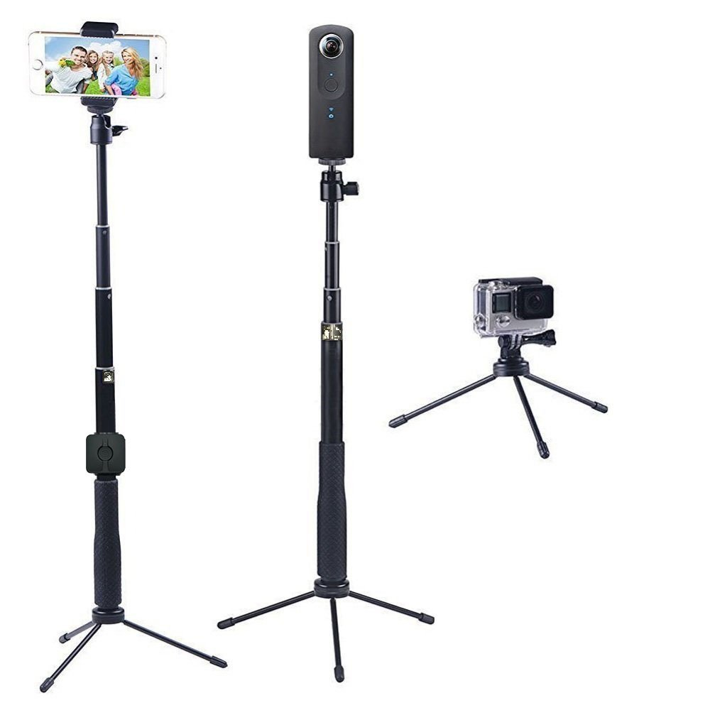 YiSeyruo Selfie Stick Extendable Monopod+Tripod Stand for GoPro Fusion, Hero 6/5/4/3+/3/2/1/Session,Ricoh 360,Samsung Gear 360, with Bluetooth Remote Controller for Cell Phones