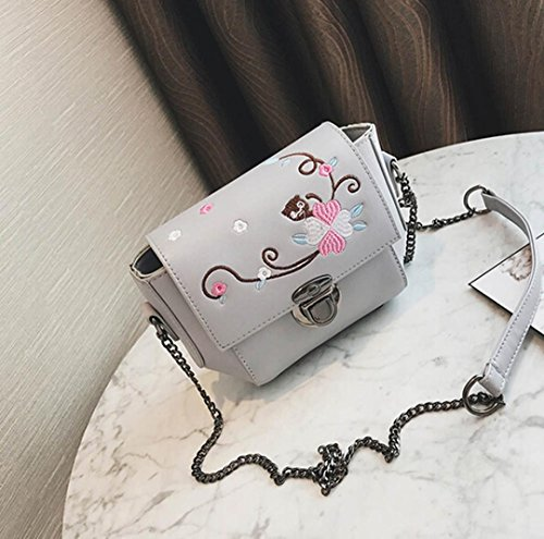 BZLine® Frauen Retro Frau Simple Floral Bag Crossbody Umhängetasche Tasche Grau