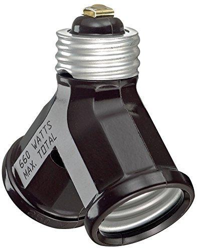 Leviton 007-128-000 Brown Twin Lamp Socket Light Adapter (Socket Adapter Light Twin)