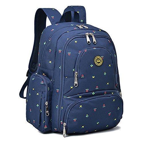 YuHan Oxford bebé bolsa de pañales pañal Mochila cambio Pad Aislamiento bolsillo Fit carrito BlueDot BlueFlower