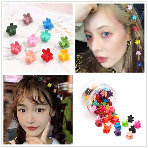 Sufermoe 80 Pcs Mix Colored Hair Claw Clips Mini Plastic Hair Claws Pins Clamps Small Hair Clips Hair Accessories (Colored Hair Claws)