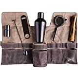 Premium Modern Titanium Coated Professional Bartender Kit, Home and Workplace Cocktail Making Set, 19oz Shaker, Bar Blade, Jigger, Wood Muddler, Strainer, Spoon and Wax Canvas Bag by Root7