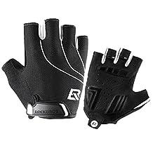 ROCKBROS Men's Summer Cycling Gloves Gel Padded Breathable Sports Gloves Black White