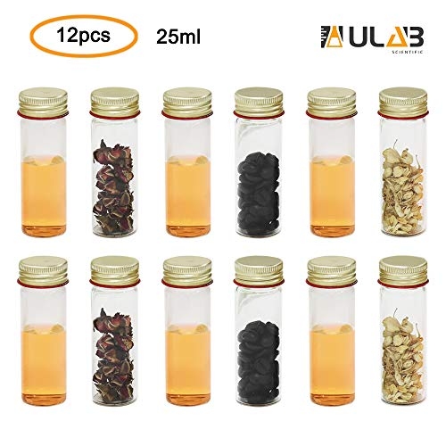 (ULAB Scientific Sample Tubes 25ml with Screw Caps, Small Spice Containers 1oz, Makarthy, 3.3 Borosilicate Glass Tubes, Caps in Aluminum Material, Pack of 12, UTT1005)
