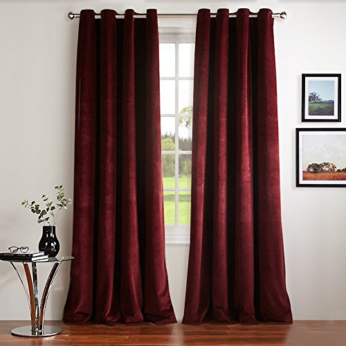 NICETOWN Red Velvet Curtains Blackout Drapes - Super Soft Luxury Velvet Grommet Top Blackout Drapes (1 Pair, W52xL84-inch, Ruby (Velvet Grommet)