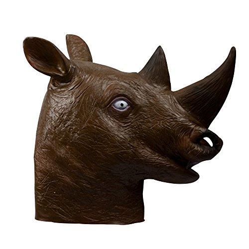 (Deluxe Novelty Halloween Costume Party Latex Animal Head Mask Rhinoceros)