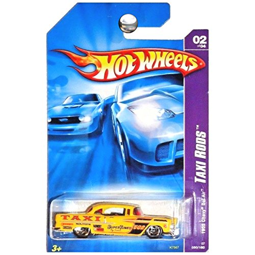 Mattel Hot Wheels 2007 New Models 1:64 Scale Yellow 1955 Chevy Bel Air Taxi Rod Die Cast Car #050