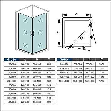 Mamparas de Ducha Doble Puerta Abatible 180/°6mm Antical 76x76x195cm Plato de Ducha