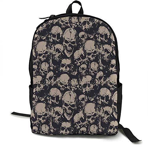 (Skull Outdoor 3 day package Grunge Scary Skulls Sketchy Graveyard Death Evil Face Horror Theme Design Suitable for school, outdoor sports 16.5 x 12.5 x 5.5 Inch Charcoal Grey Tan)