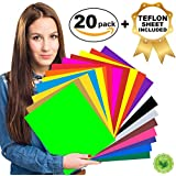 """HTV Heat Transfer Vinyl Bundle - 20 Assorted Colors 12"""" x 10"""", Iron On Vinyl for T Shirts, Hats, Clothing 