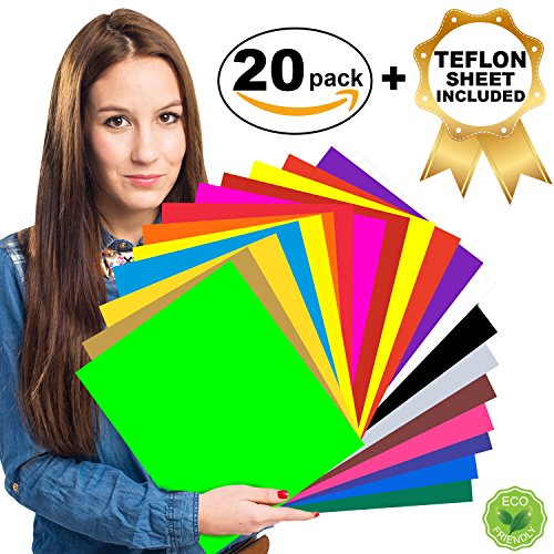 HTV Heat Transfer Vinyl Bundle - 20 Assorted Colors 12'' x 10'', Iron On Vinyl for T Shirts, Hats, Clothing | HTV Vinyl Pack for Silhouette Cameo, Cricut, Heat Press Machine with Teflon Sheet Included by Creativ Crafts