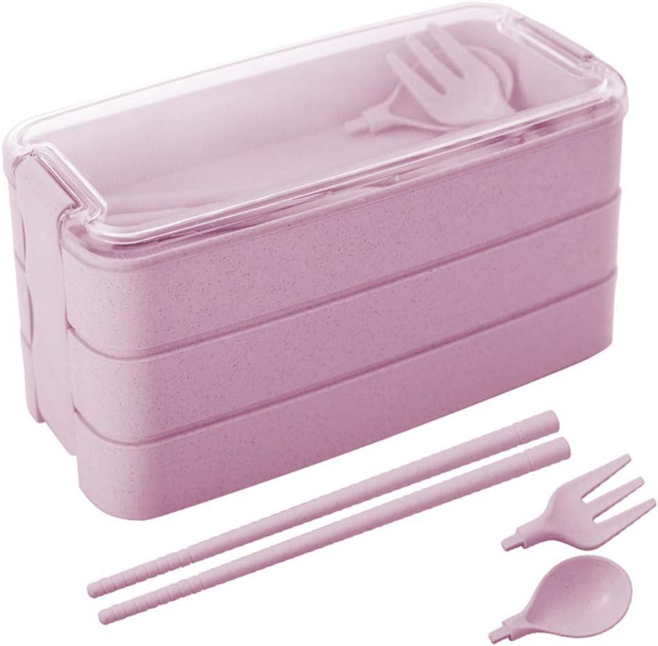 ZoneYan Fiambrera Bento, Bento Japonés Design, Lunch Bento Box, Lonchera a Prueba de Fugas, Fambrera Infantil Paja de Trigo para el Trabajo, Escuela, Viajes (Pink)