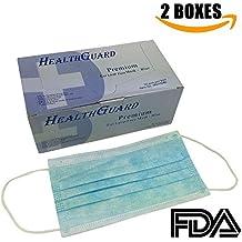 3-Ply Commercial Grade Dental Surgical Medical Disposable EarLoop Face Masks, Latex Free | FDA Registered & Approved! (100 MASKS/2 BOXES, BLUE)