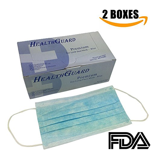 3-Ply Commercial Grade Dental Surgical Medical Disposable EarLoop Face Masks, Latex Free | FDA Registered & Approved! (100 MASKS / 2 BOXES, BLUE)