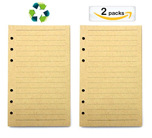 2 Pack-Filler Paper/Lined Refill Paper for A6 Loose Leaf Binder Notebooks Journals/(Kraft Horizontal Lined)Resistant to Feathering and Bleeding - 170 Notebook