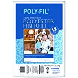 Fairfield Poly-Fil Premium Polyester Fiber, White, 1 Bag, 12-Ounce