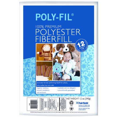 Price comparison product image Fairfield PF12A Poly-Fil Premium Polyester Fiber, White, 1 Bag, 12-Ounce