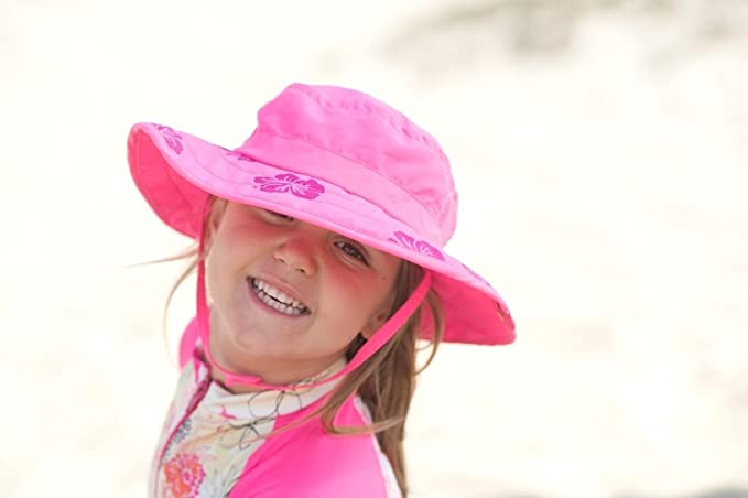 11b467e6 Amazon.com: Sun Protection Zone Kids' UPF 50+ Safari Sun Hat, Pink Flowers, Uv  Sun Protective, Lightweight, Velcro Straps, One Size: Clothing