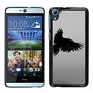 // PHONE CASE GIFT // Duro Estuche protector PC Cáscara Plástico Carcasa Funda Hard Protective Case for HTC Desire D826 / raven death deep writing nature bird /