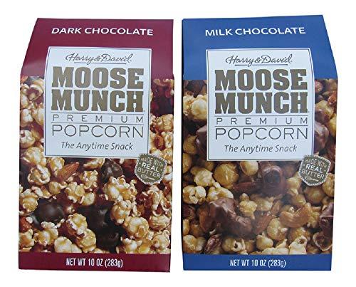 Harry & David Moose Munch Gourmet Popcorn Dark Chocolate & Milk Chocolate 10 oz Package Bundle