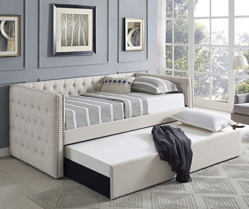 Trina Ivory Fabric Daybed w/ Trundle by Crown Mark